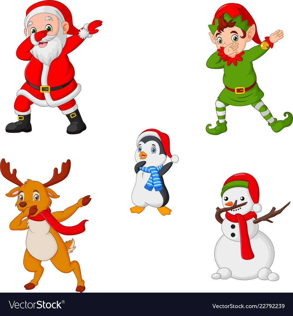 Christmas Dancing Santa.Dancing Christmas Cartoon Santa Claus Elf Reinde