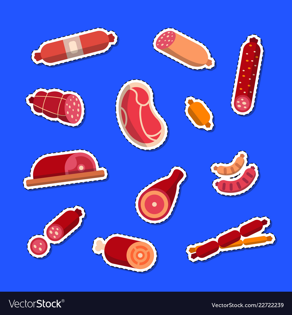 Flat meat and sausages icons stickers set