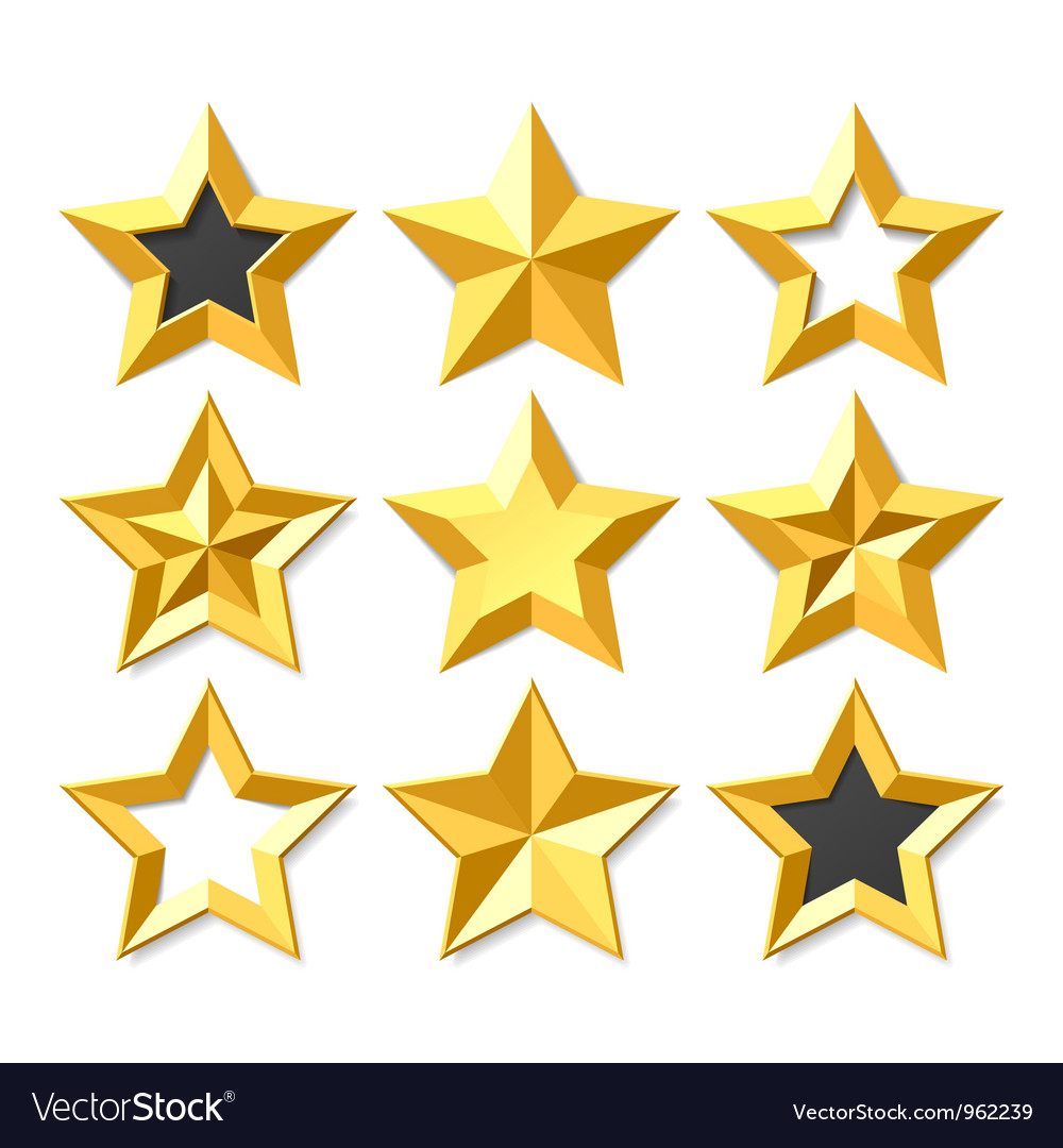 Gold stars set vector image