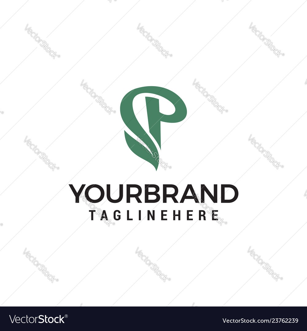 Green eco letter p logo template design
