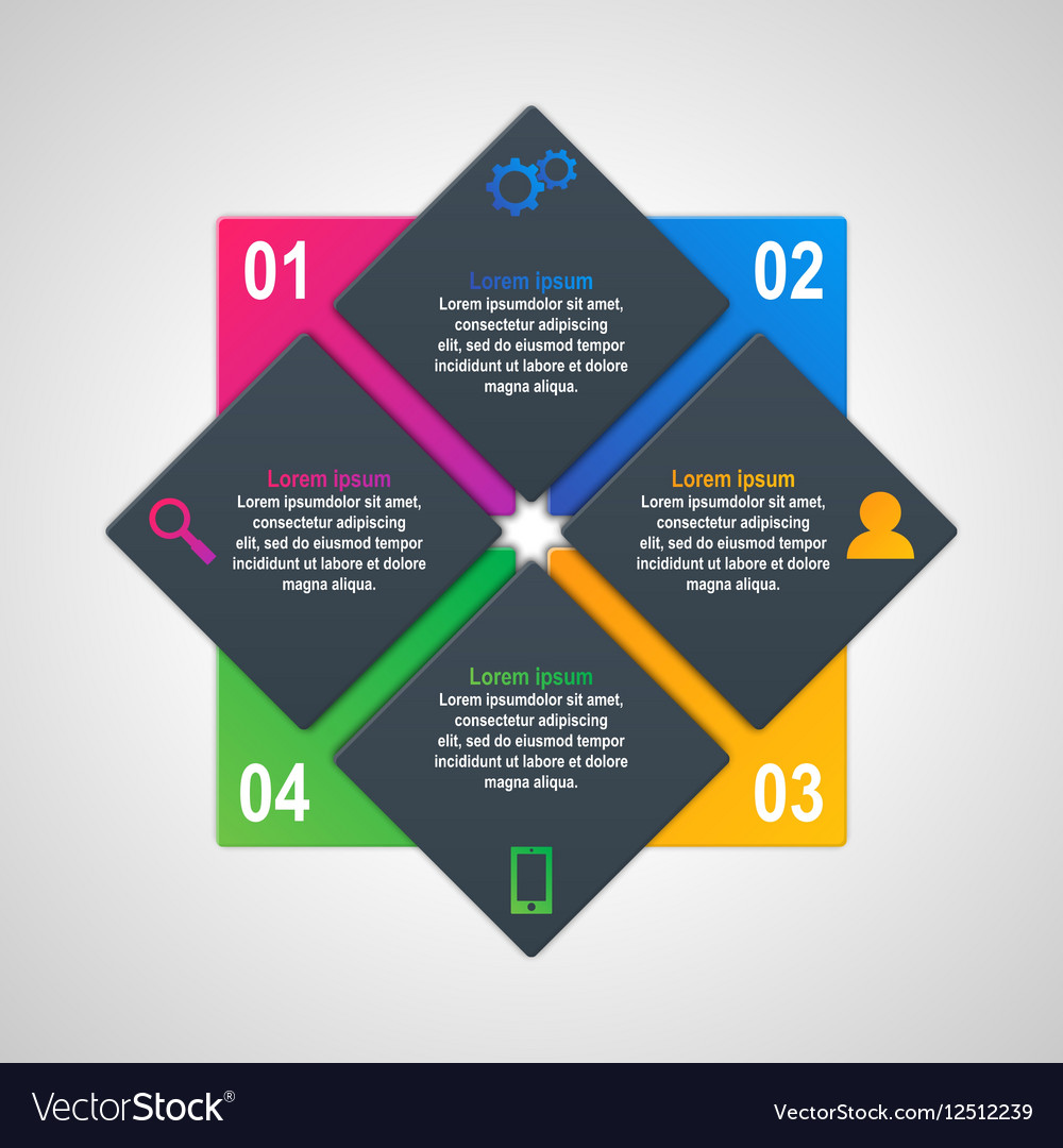 Infographics template with four options in