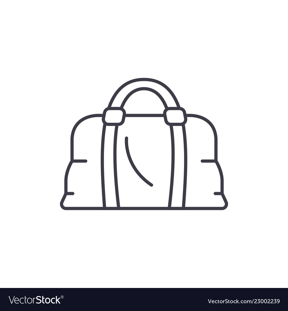 Leather bag line icon concept leather bag