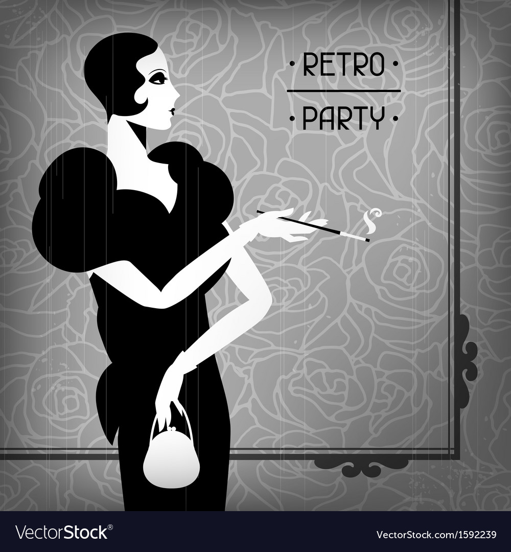 Retro party background with beautiful girl of