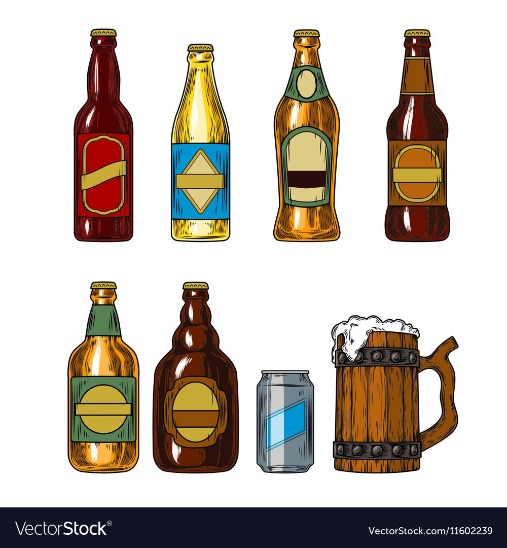 Set icons of beer bottles and mug vector image