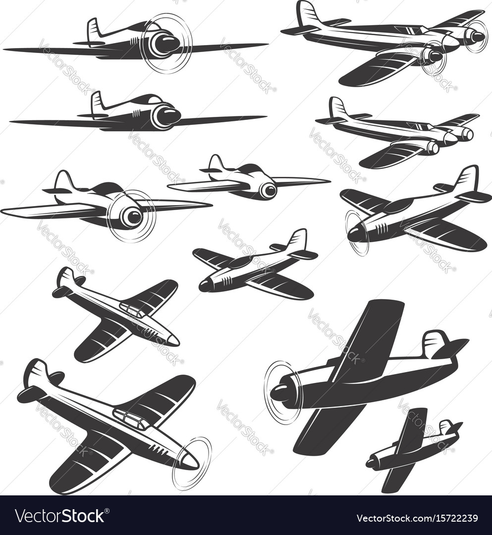 Set of aircraft icons isolated on white