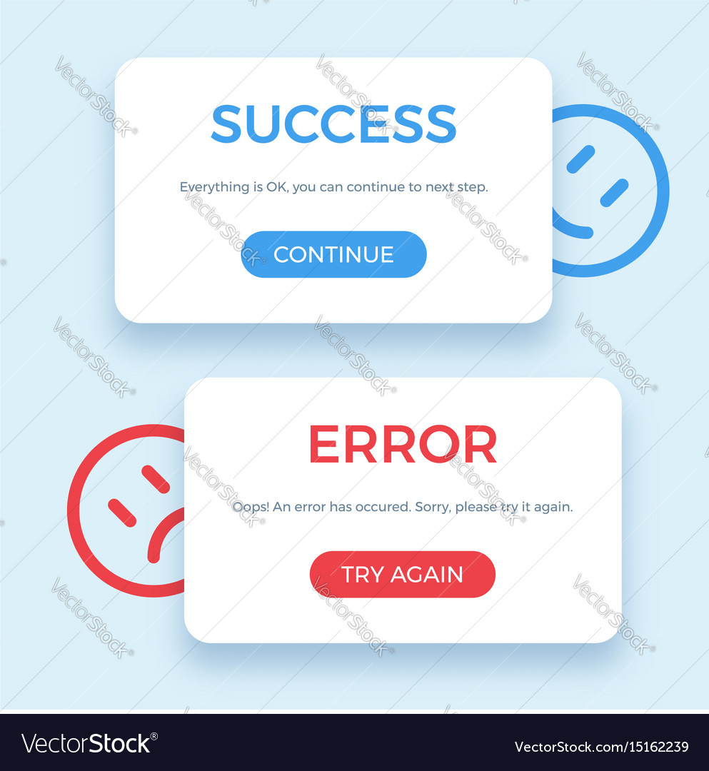 Success and error message vector image