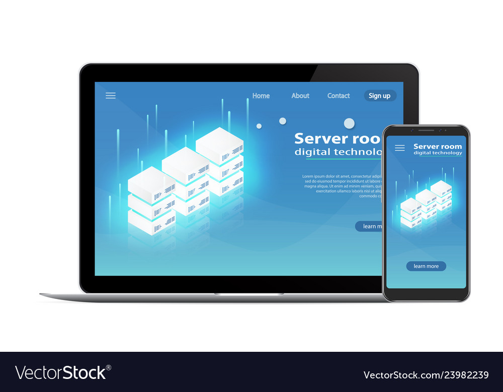 Website template landing page concept of server ho