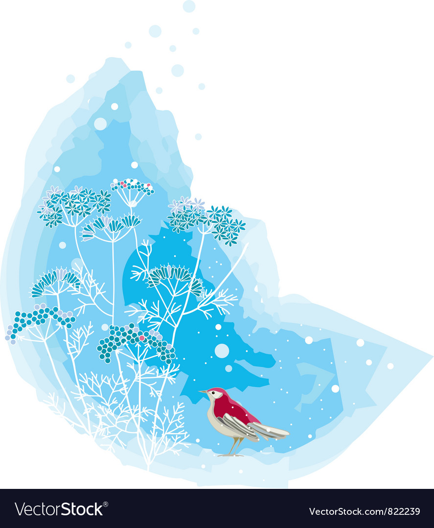Winter scene with a red bird vector image