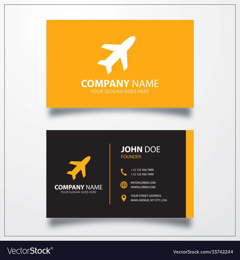 Airplane icon business card template