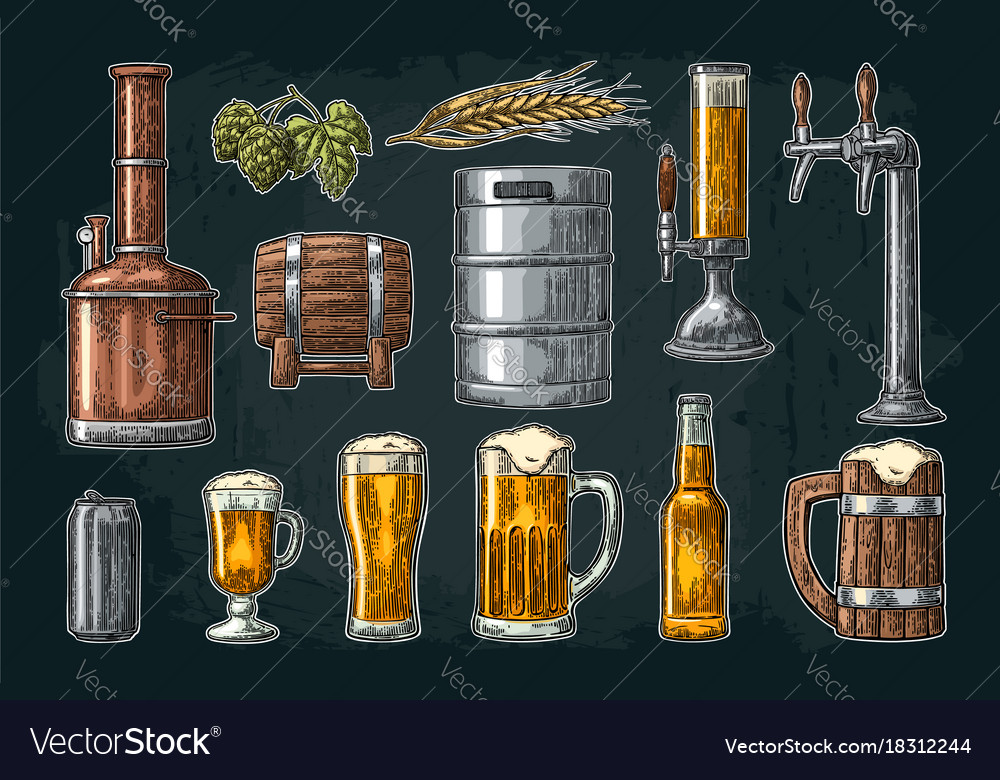 Beer set with tap class can bottle and tanks