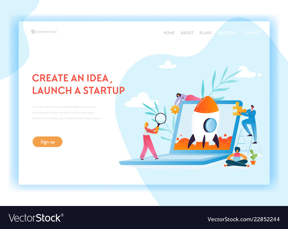 Business startup landing page template characters