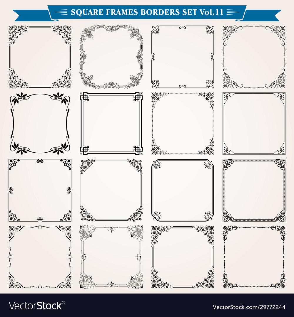 Decorative square frames and borders set 11