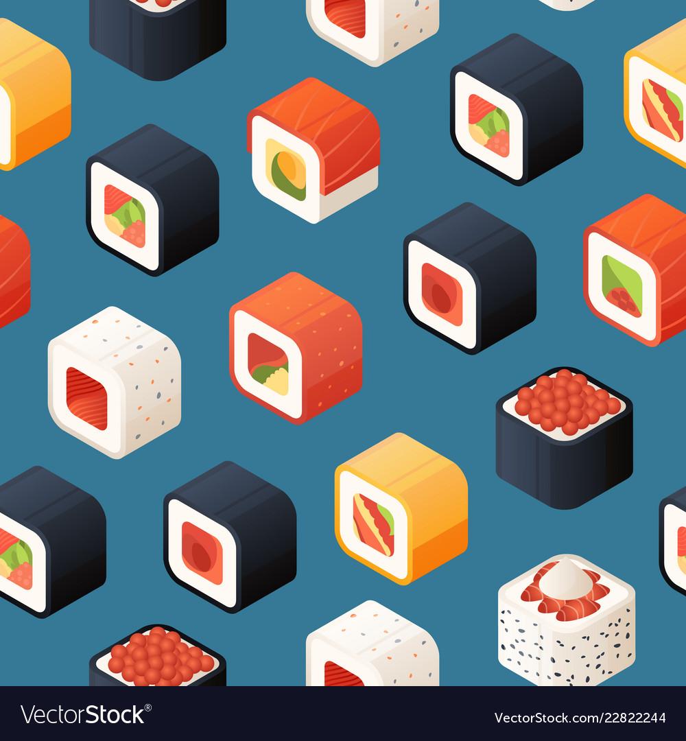 Isometric sushi pattern or background