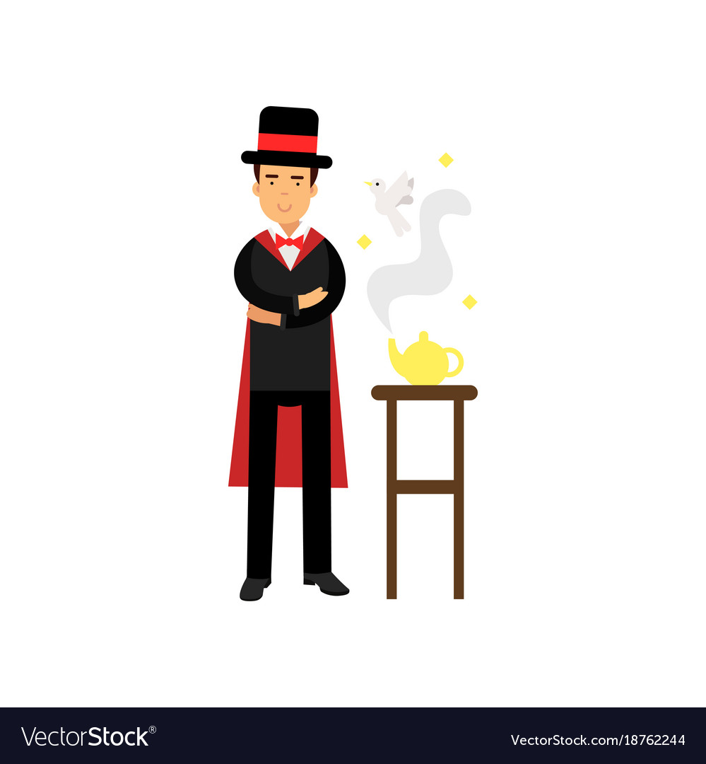 Magician showing a trick with a magic lamp circus vector image