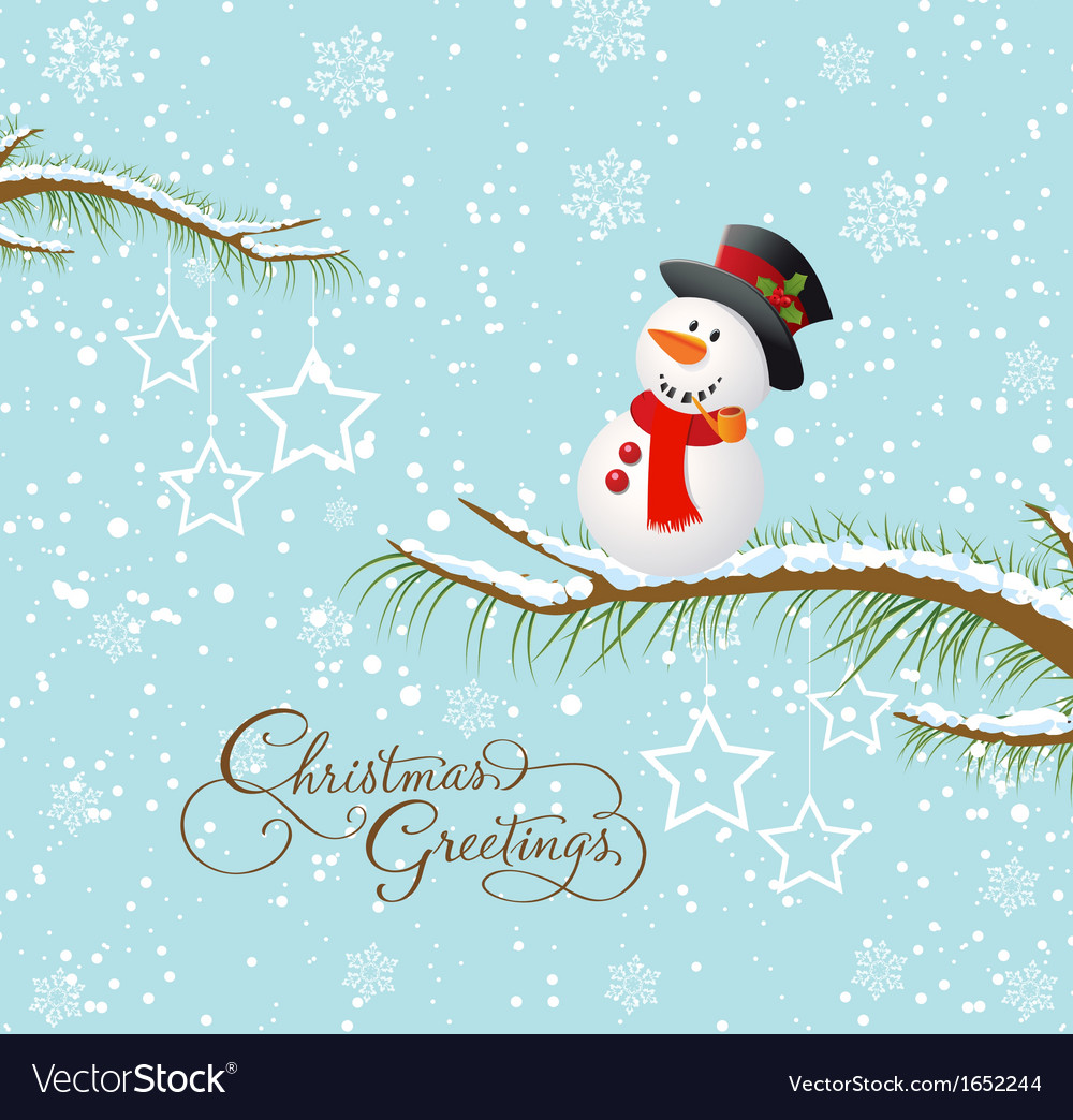 Merry christmas card with snowman Royalty Free Vector Image