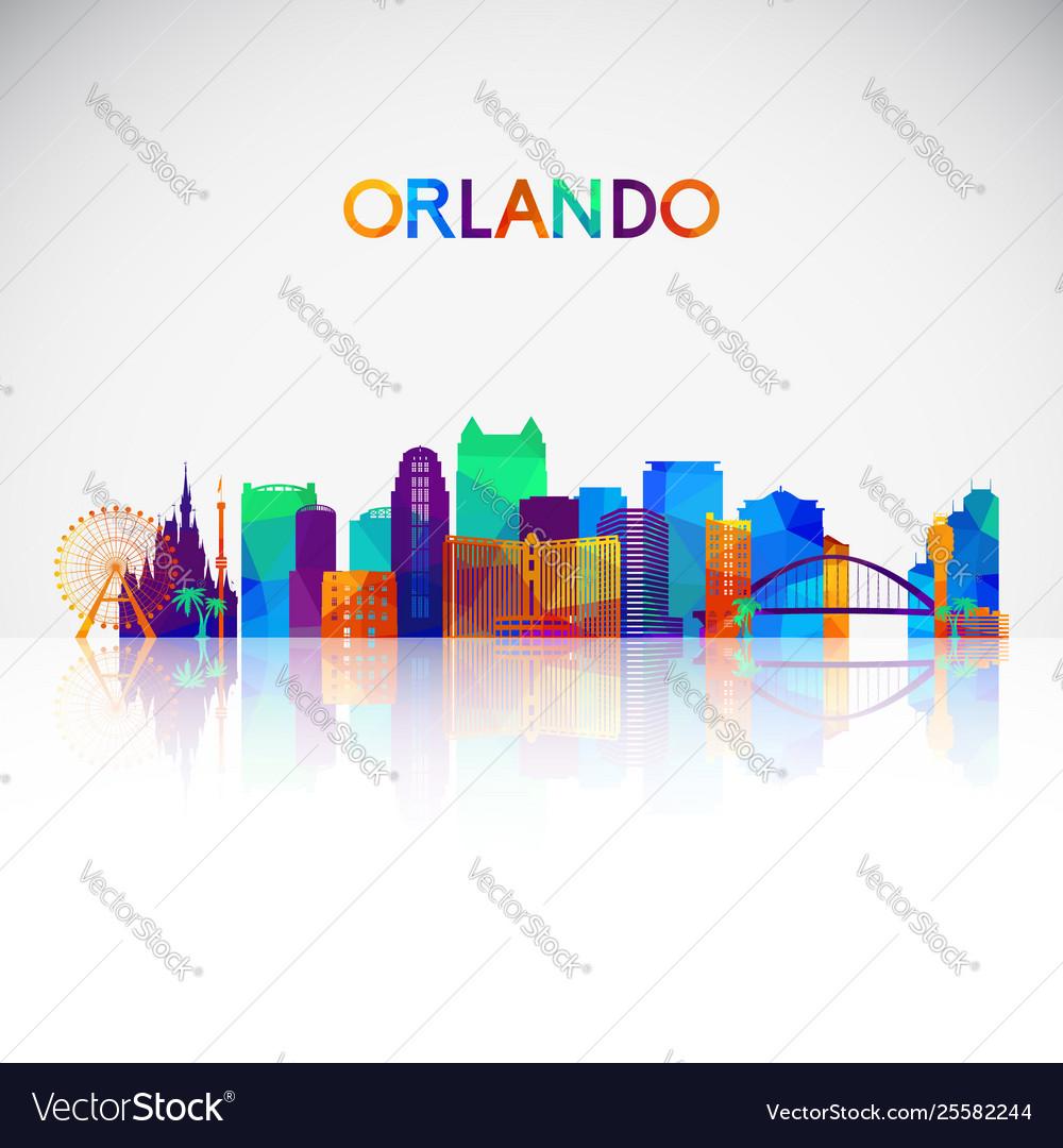 Orlando skyline silhouette in colorful geometric