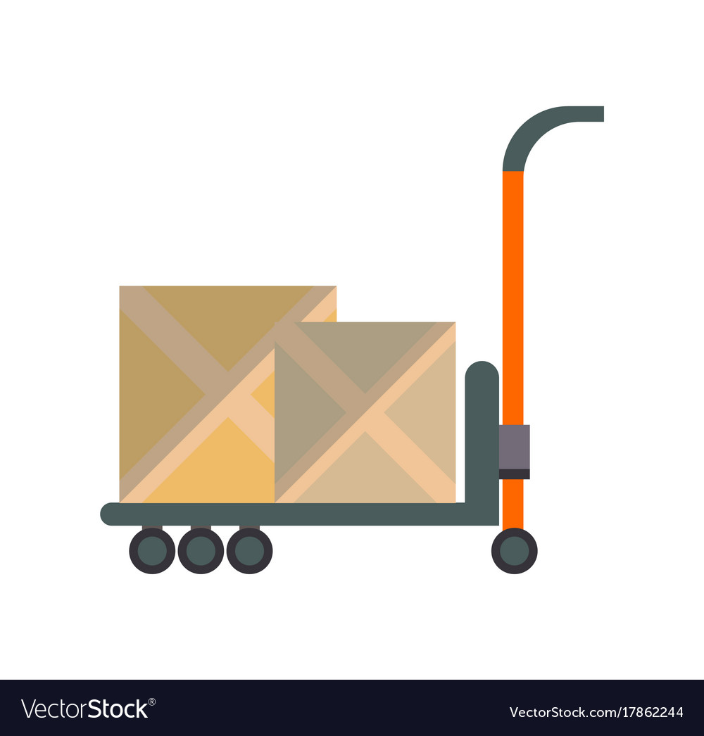 Packing boxes on truck in flat design
