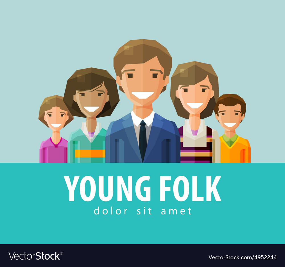 People young folk logo design template