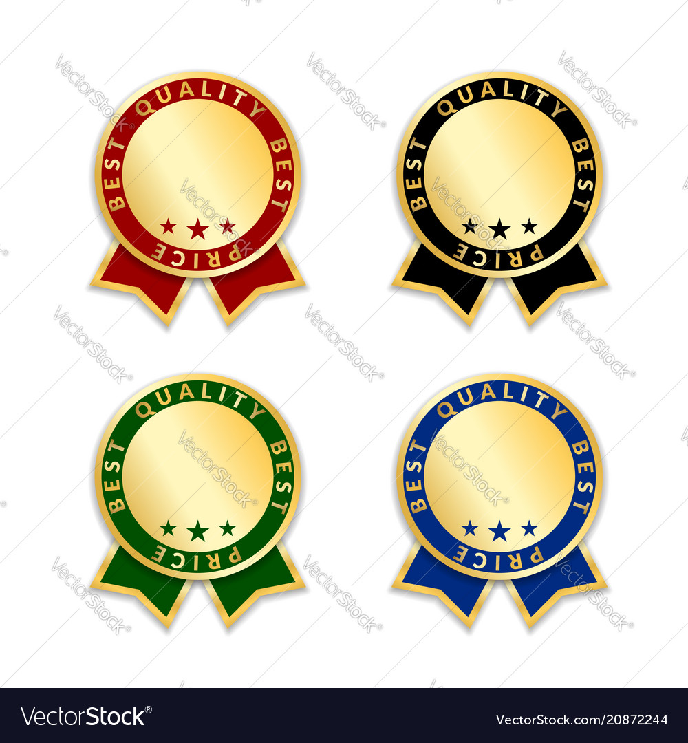 Ribbon award best price labels set gold ribbons