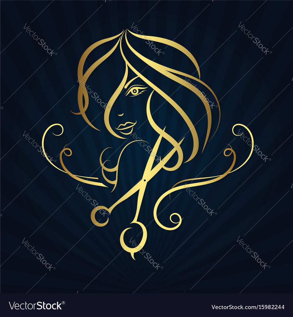 Silhouette of a girl and scissors vector image