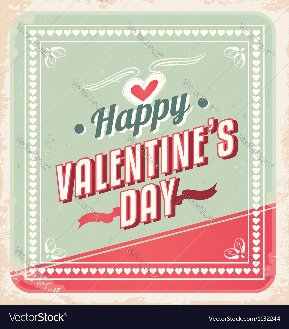 Valentines Day retro card design