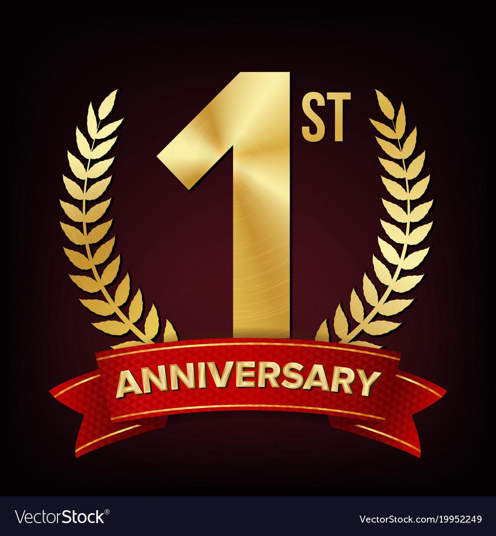 1 anniversary banner one year age first royalty free vector vectorstock