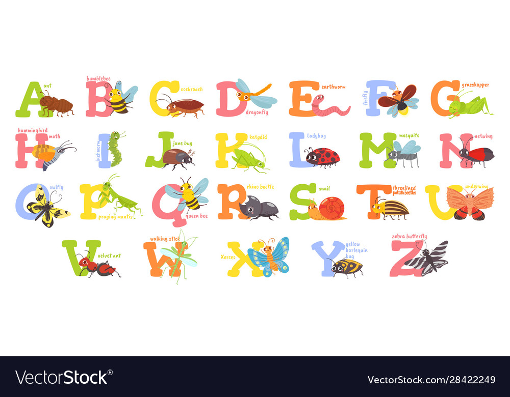 Cartoon insects alphabet funny bug letters comic