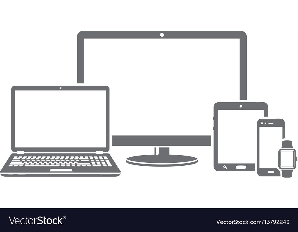 Device icons of responsive design for presentation vector image