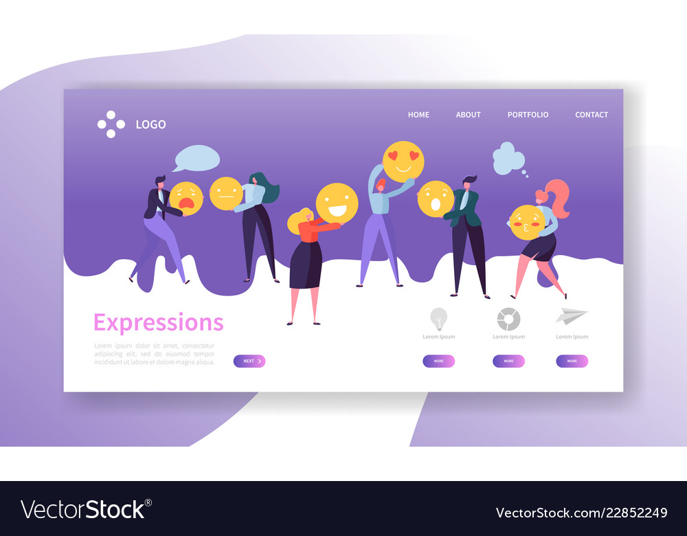 Emoticons landing page team work concept people