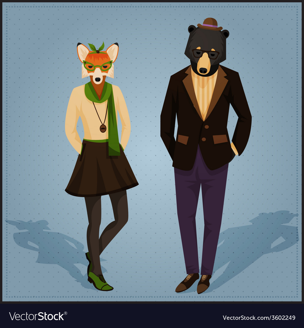 Fashion hipster animals couple