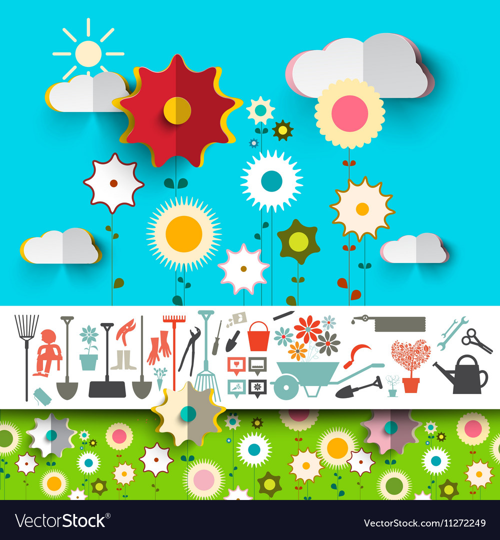Garden Tools Icons Flowers Design on Blue Sky with