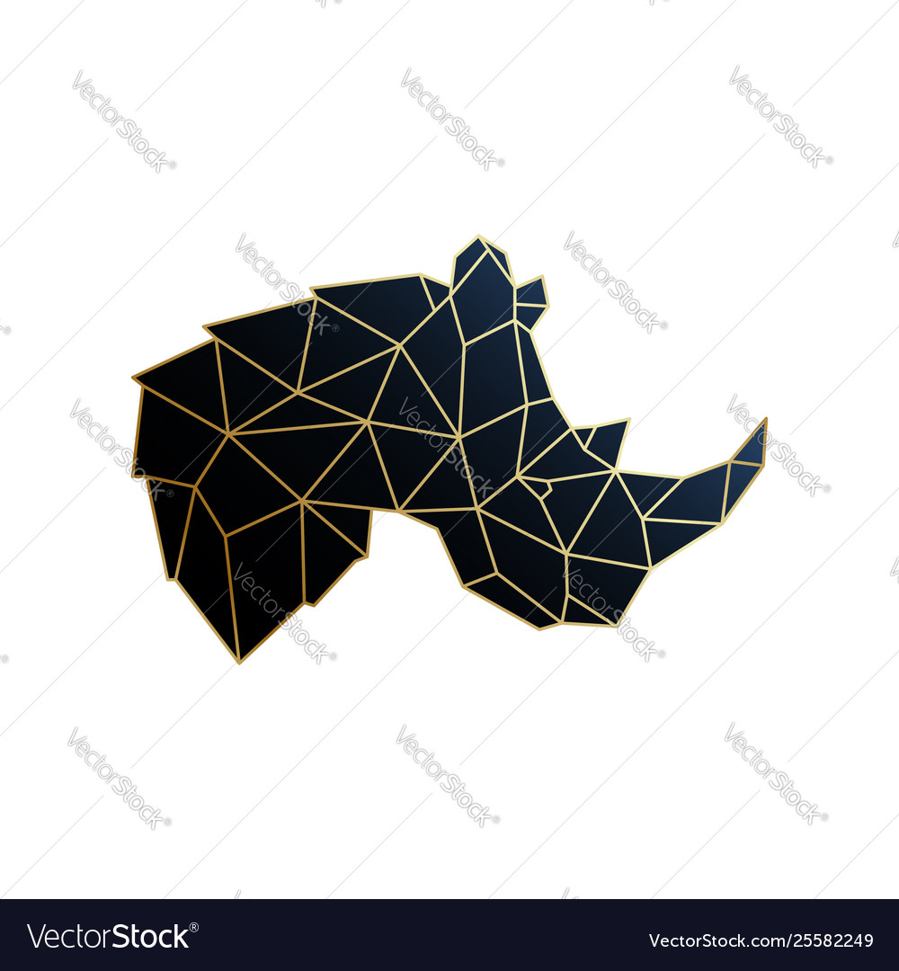 Geometric rhino golden polygonal