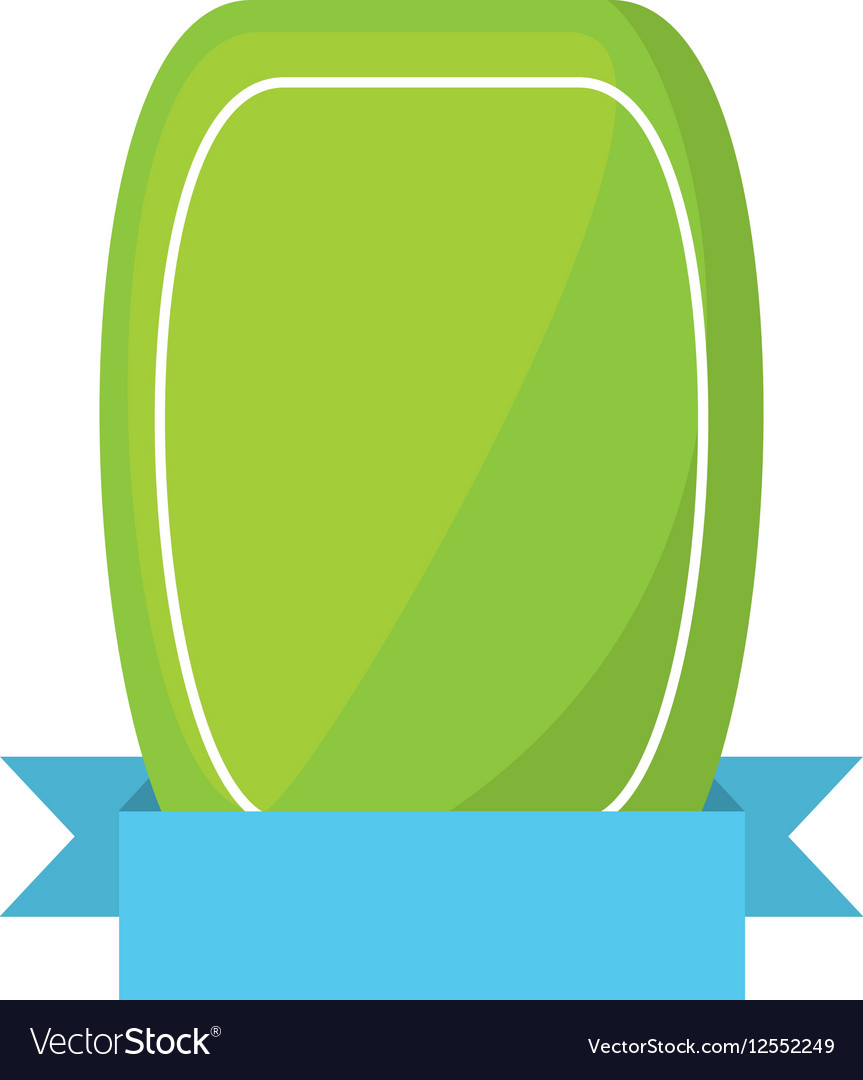 Green shield empty blue ribbon vector image