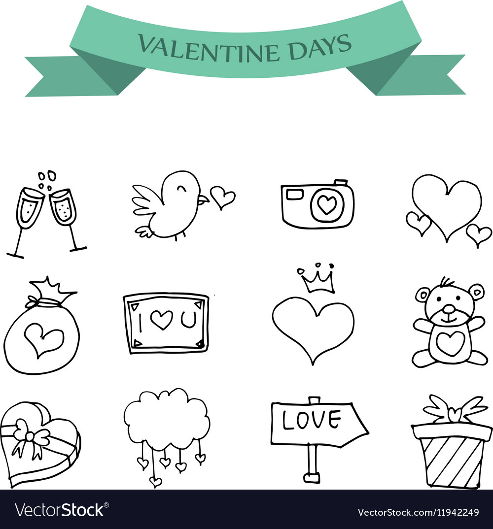 Hand Draw Icon Of Valentine Day Royalty Free Vector Image