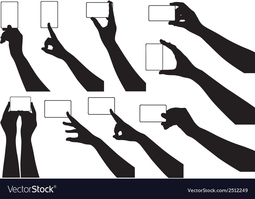 Hands holding business cards vector image