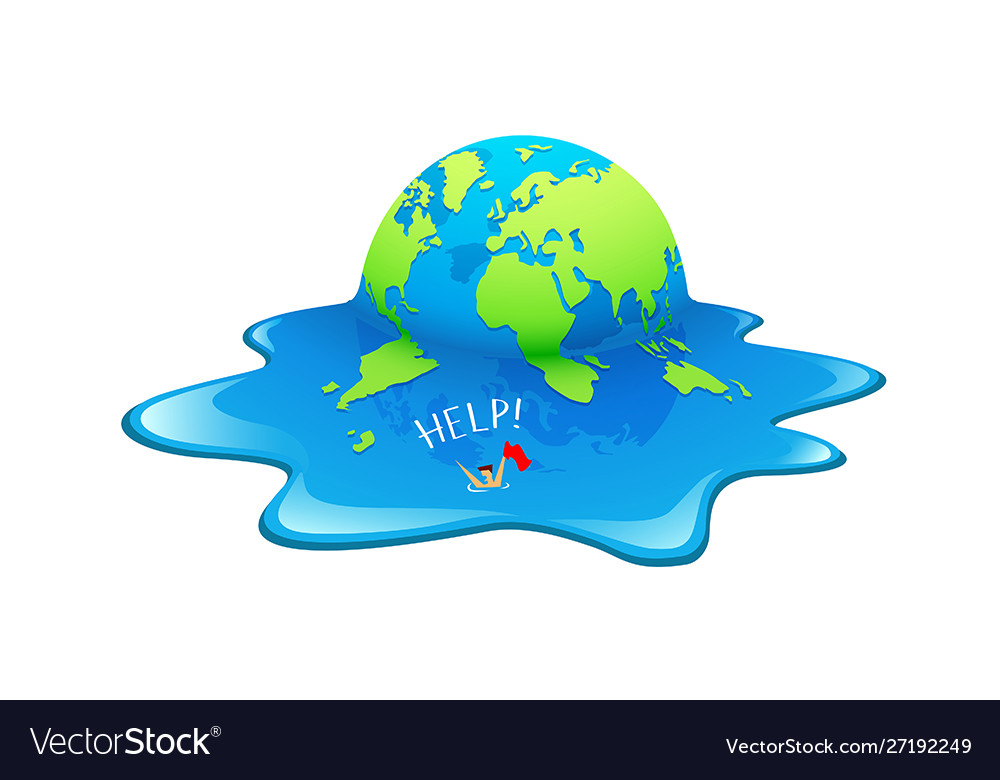 Melting earth people help in seaconcept globe