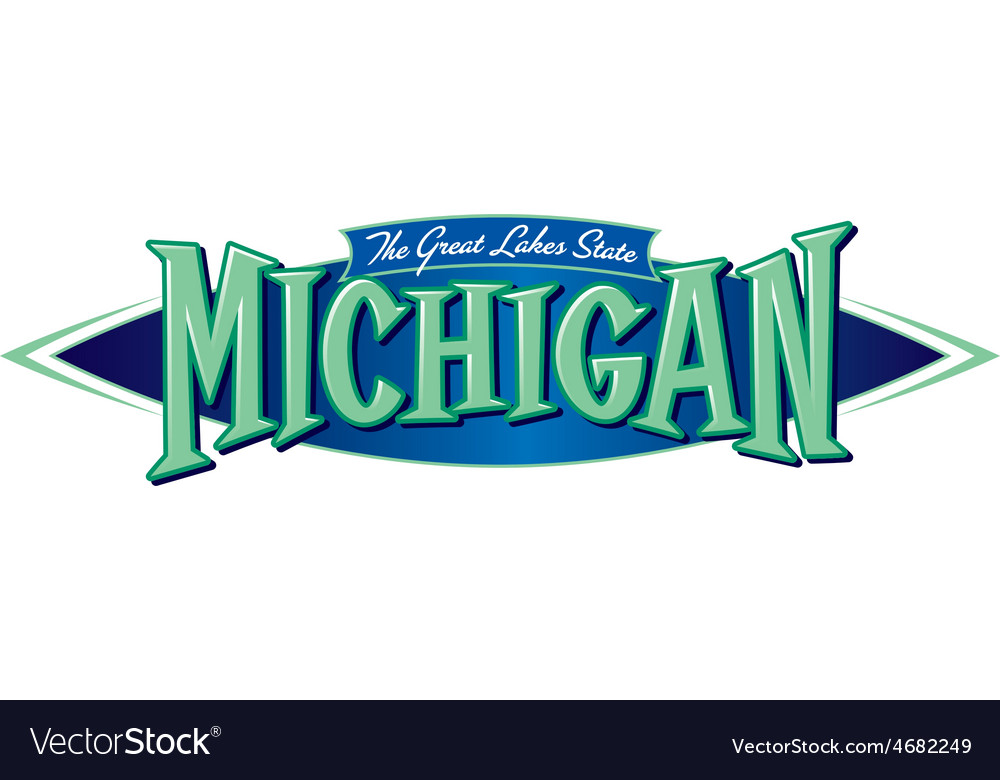 michigan the great lakes state royalty free vector image