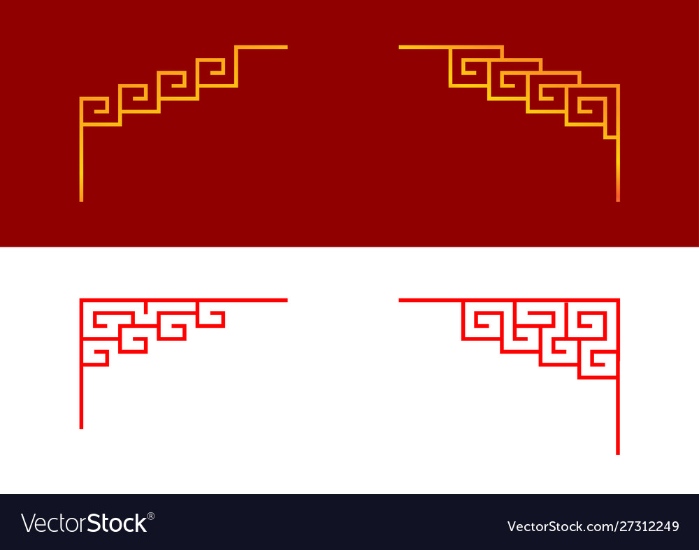 Set chinese line corner ornament art