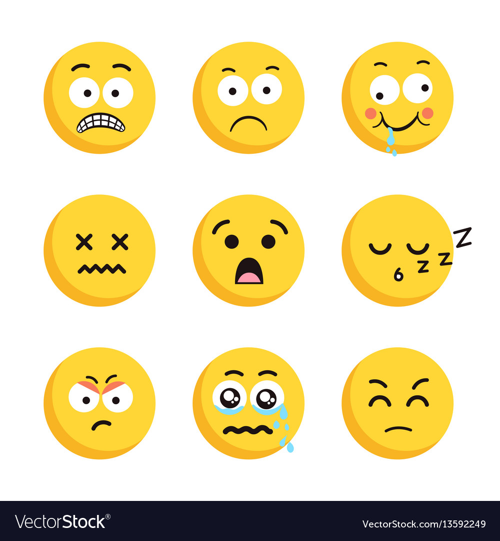 Set of sad smiling emoticon faces