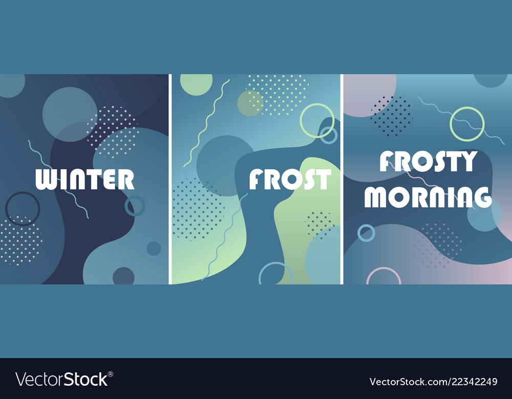 Set of winter backgrounds with gradients