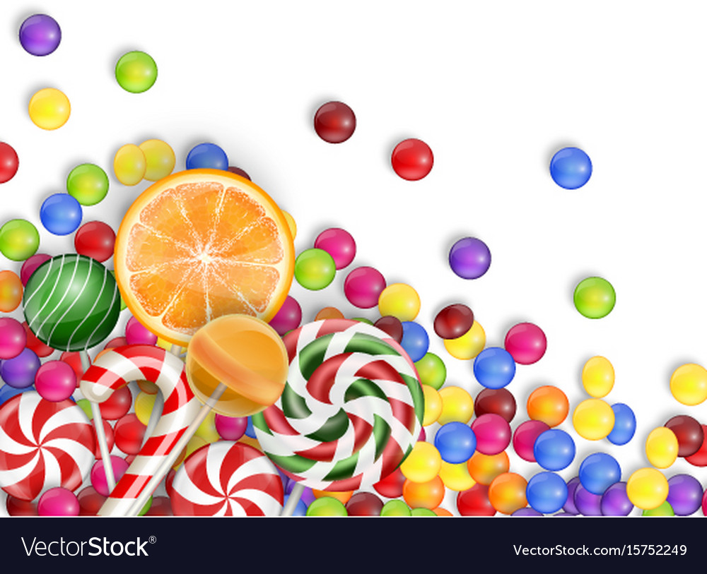 Sweets of candies with lollipop orange juice