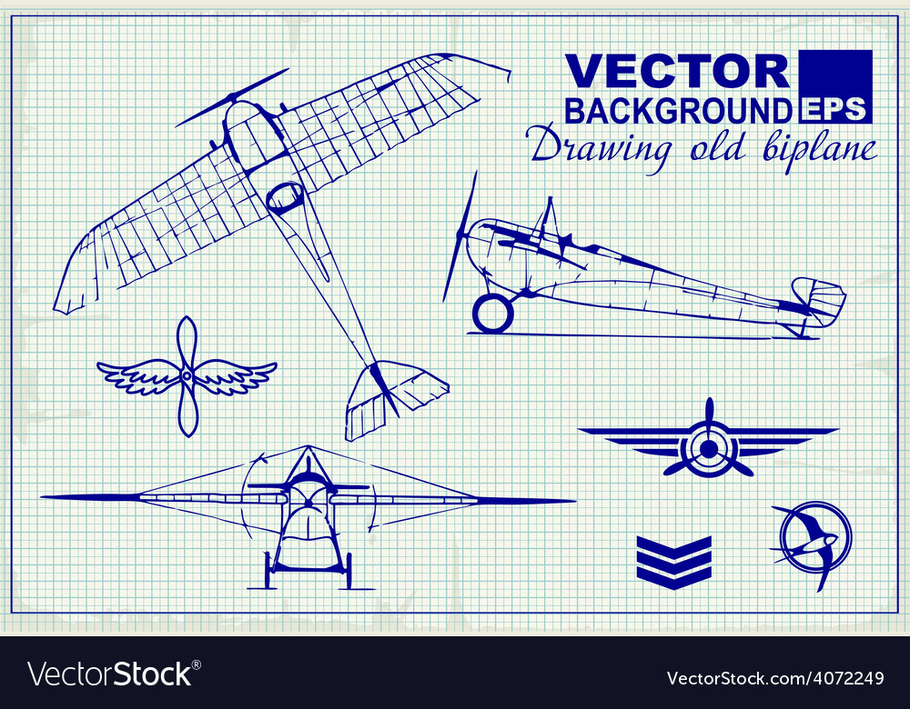 Vintage airplanes drawing on graph paper