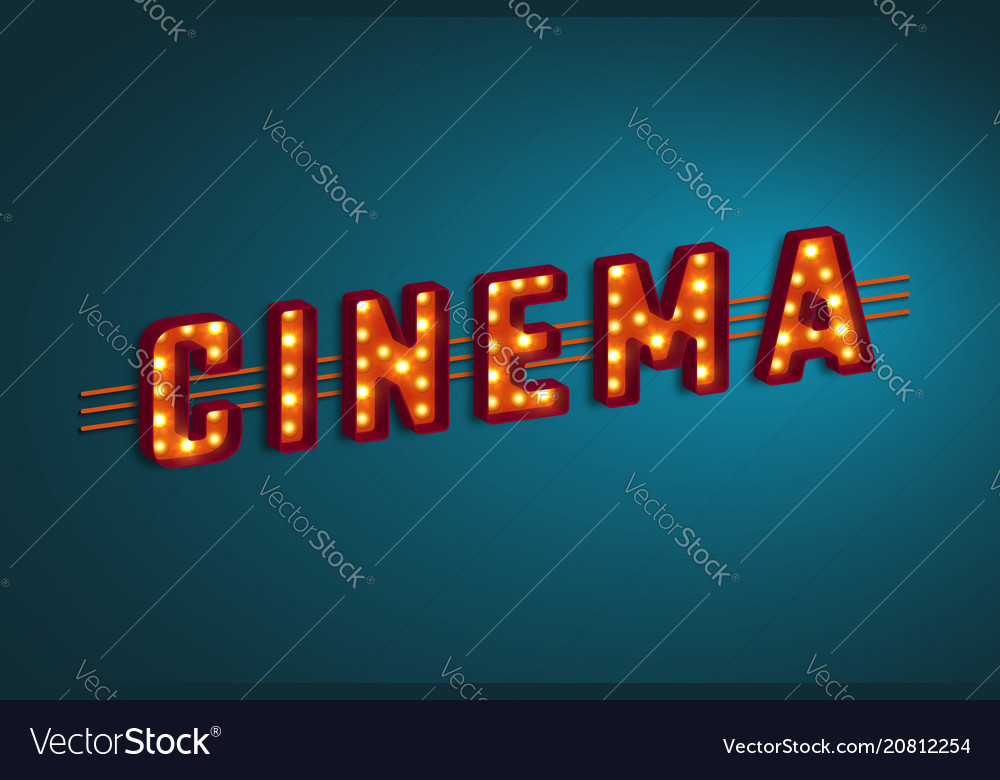 3d retro cinema sign