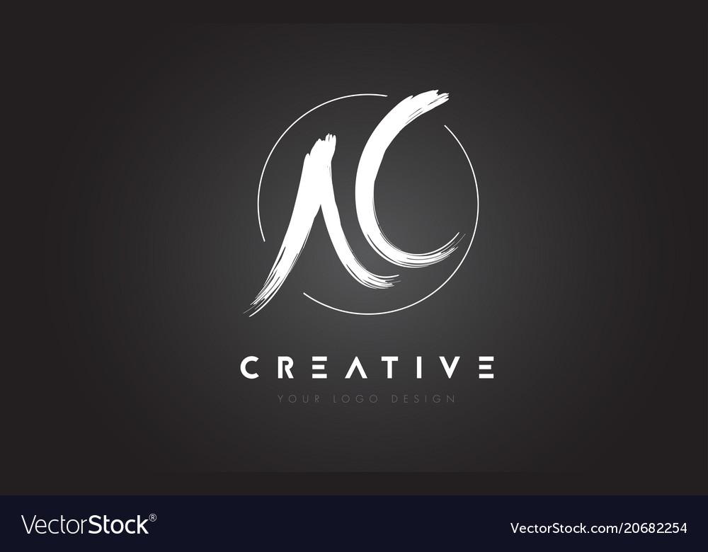 Ac brush letter logo design artistic handwritten