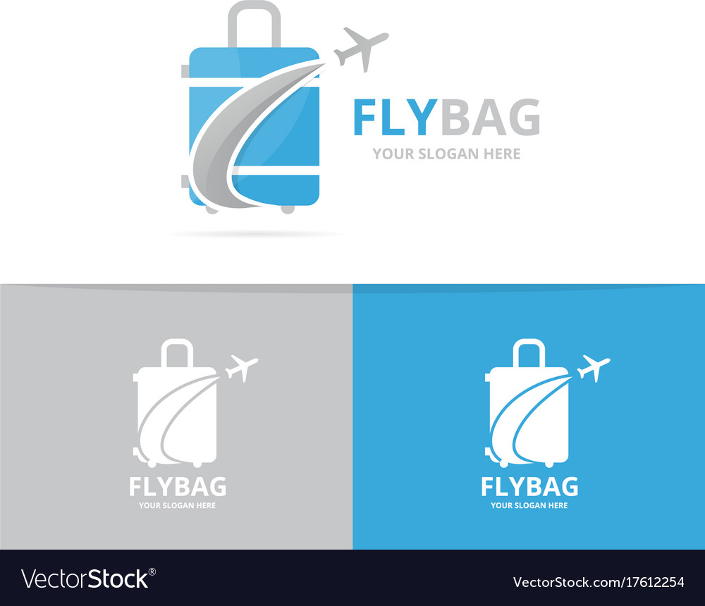 Bag and plane logo combination baggage
