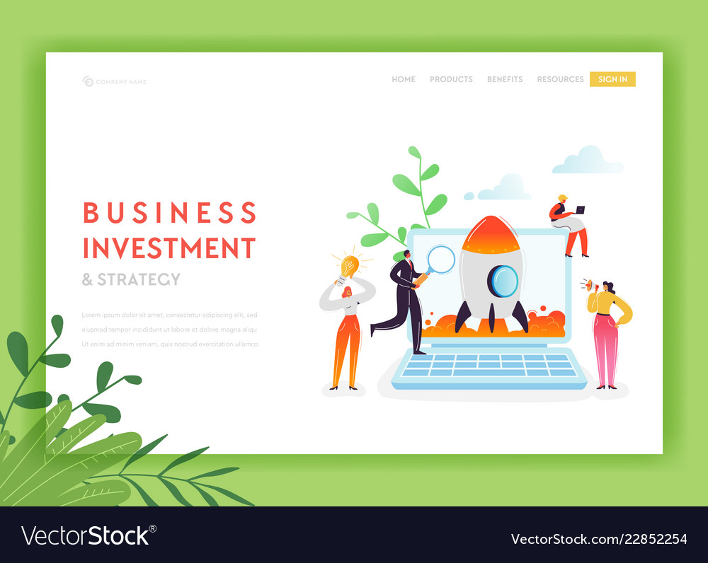 Business startup landing page template investment