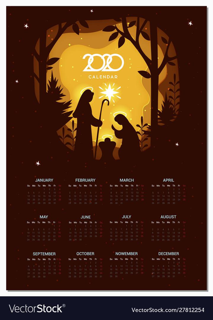 Calendar 2020 basic grid birth christ