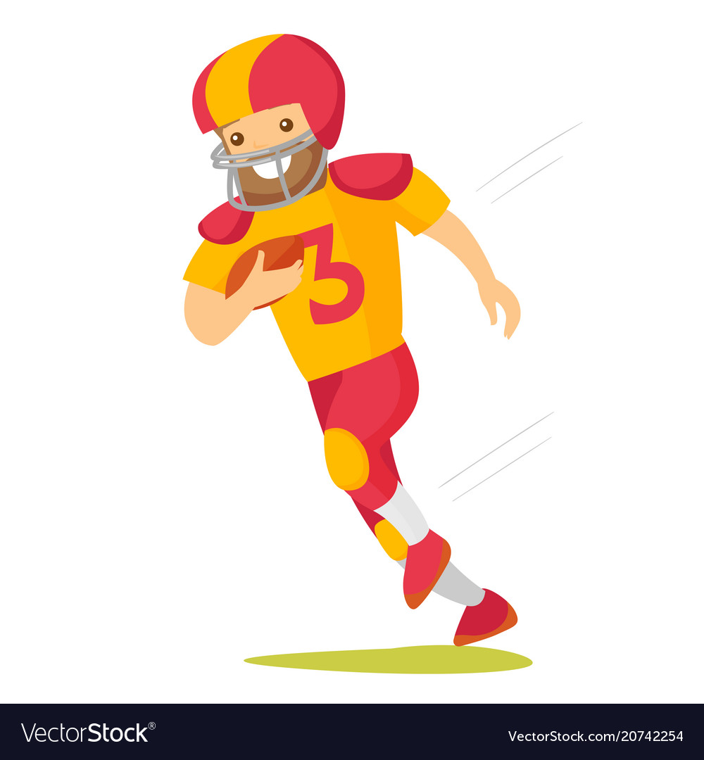 Caucasian white rugby player running with ball vector image