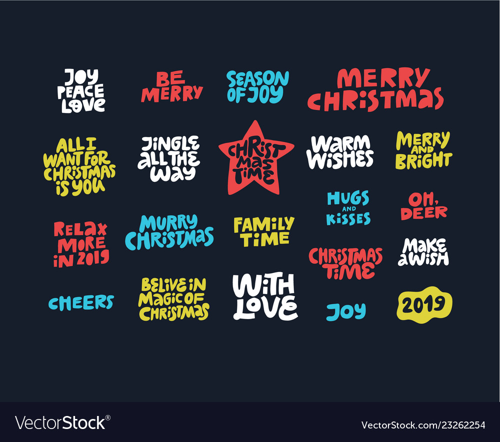 Christmas wishes quotes hand drawn lettering set