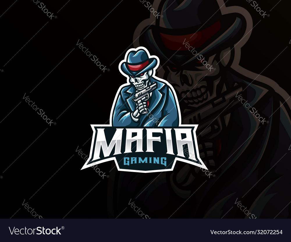 Mafia skull mascot sport logo design